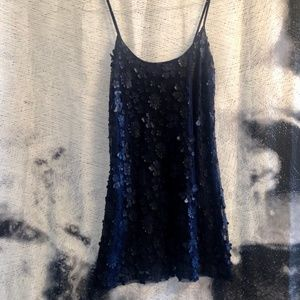 {5/$20} Navy Vinyl Flower Applique Chiffon Dress
